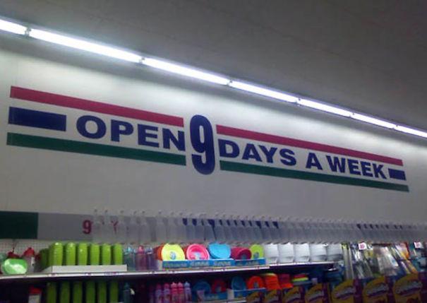 Открыто 9 дней в неделю.