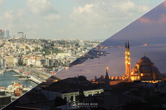 Очарование дня и ночи: коллажи знаменитых видов Стамбула (10 фото)