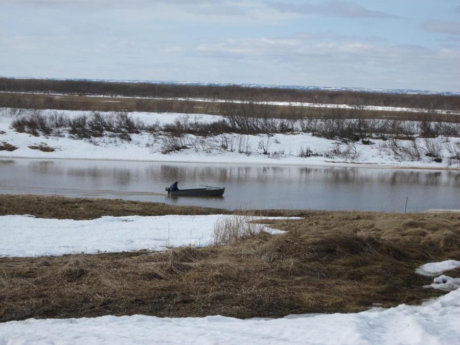 54. Сделав все дела, возвращаюсь по берегу речки. Один из рыбаков поехал проверить свои сети.