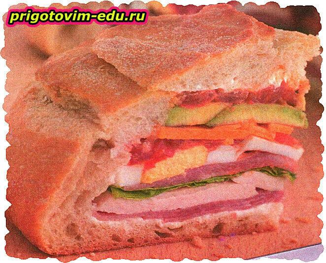 Закусочный пирог из домашнего хлеба