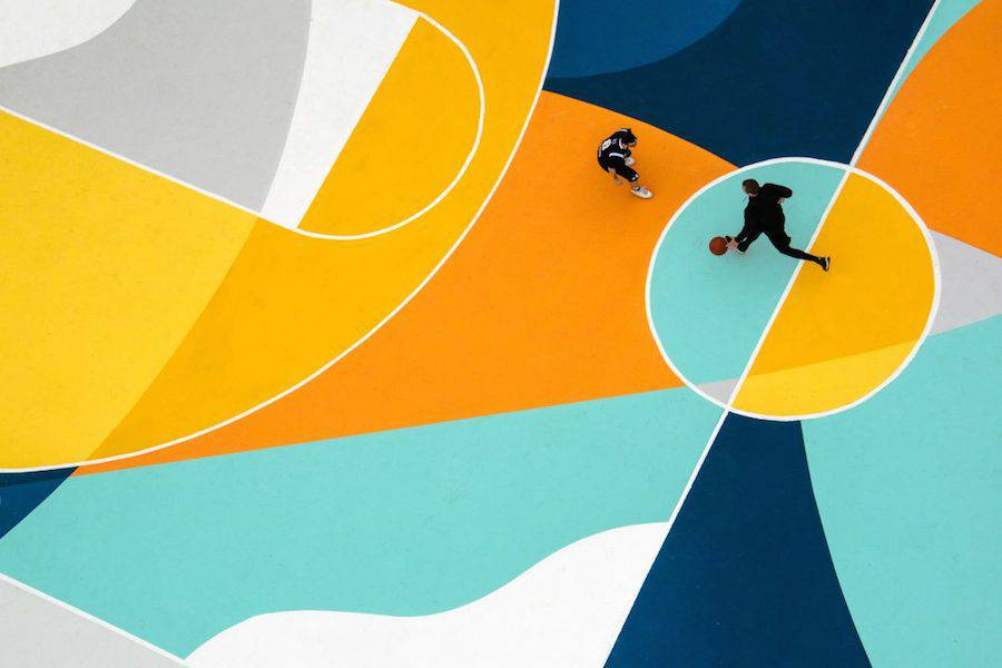 Superb Multicolored Basketball Court in Italy by GUE
