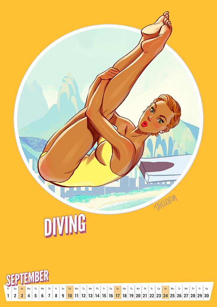 Прыжки в воду - Summer Olympic Pin-Up Calendar 2017 / художник Андрей Тарусов