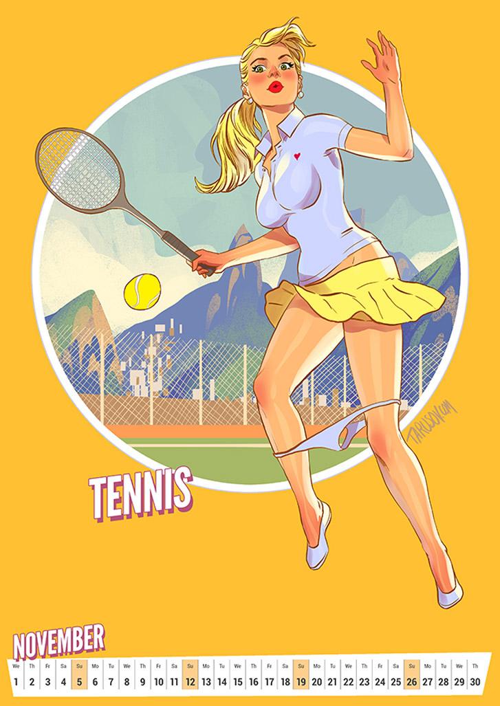 Теннис - Summer Olympic Pin-Up Calendar 2017 / художник Андрей Тарусов