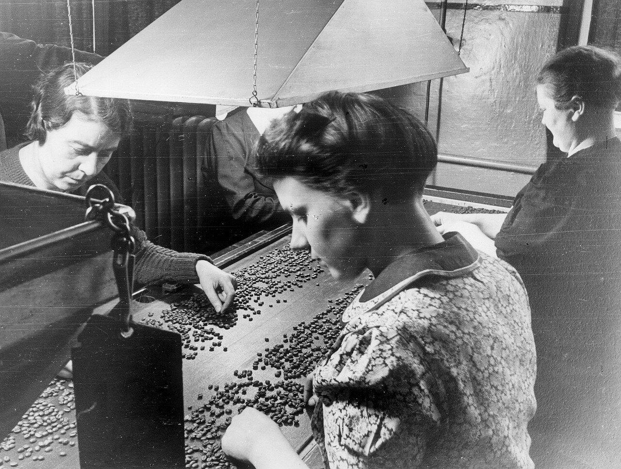 Гамбург. Рабочие сортируют зерна кофе