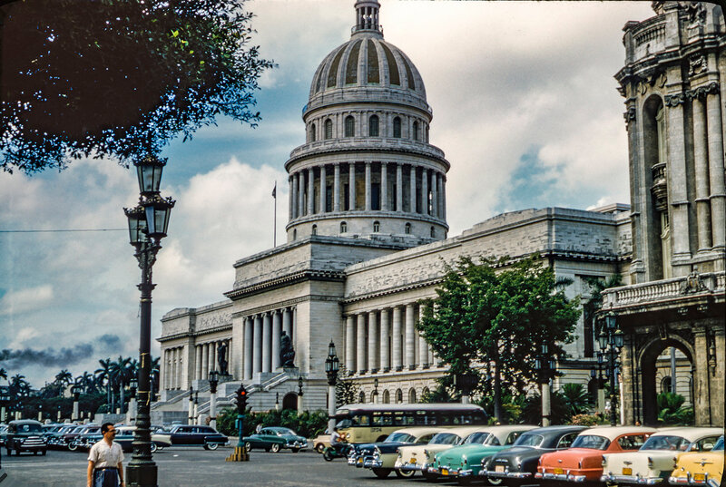 1956 Havana El Capitolio from the corner of Paseo de Marti and San Jose in old Havana.jpg
