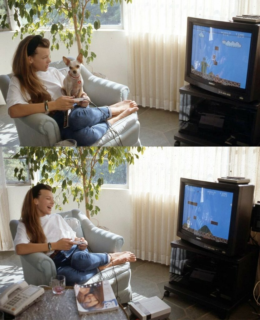 A 12 year old Milla Jovovich playing Super Mario.jpg