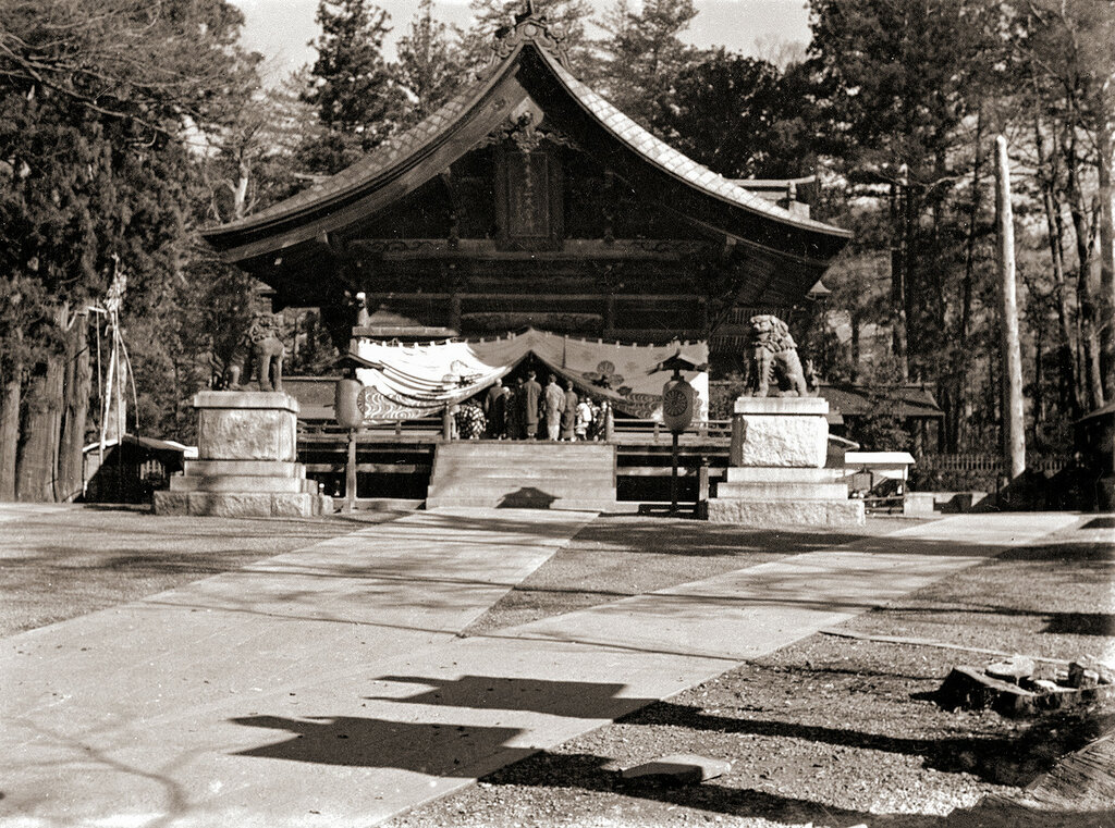 Japanese Shrine & Guardian Statues 1930s.