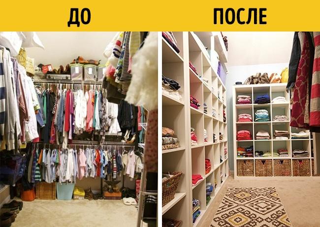 Забитая под завязку гардеробная становится чистой иопрятной засчет шкафов идополнительных полок.