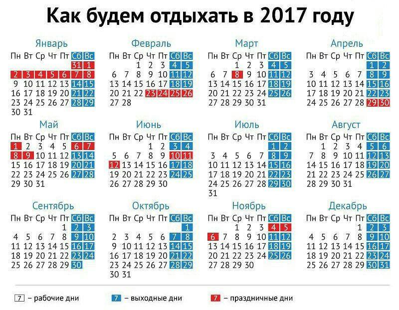 Производственный календарь 2017 днр
