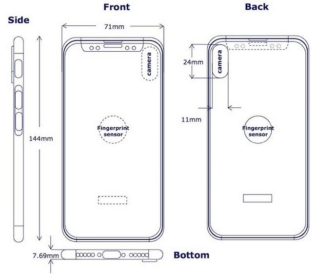 Новые рендеры Apple iPhone 8 свертикальной двойной камерой