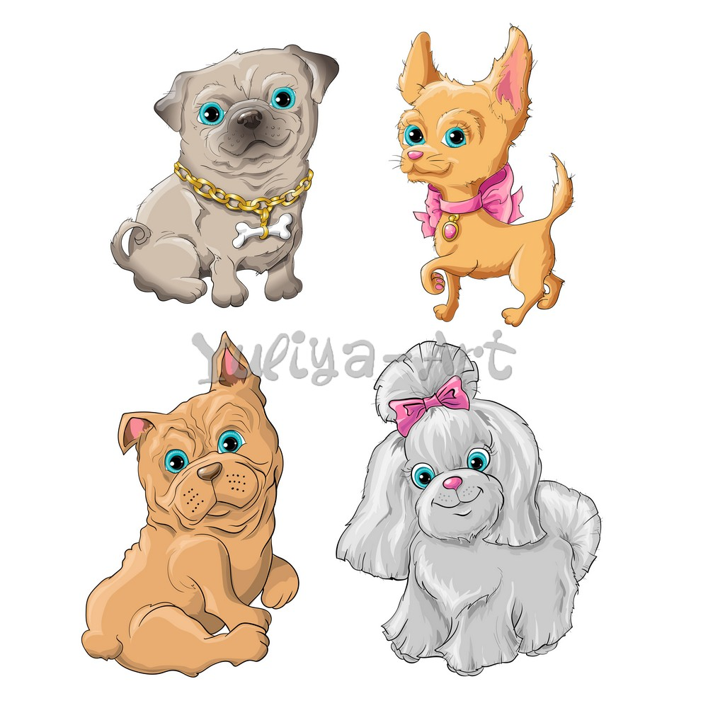 Illustration of a cute dogs