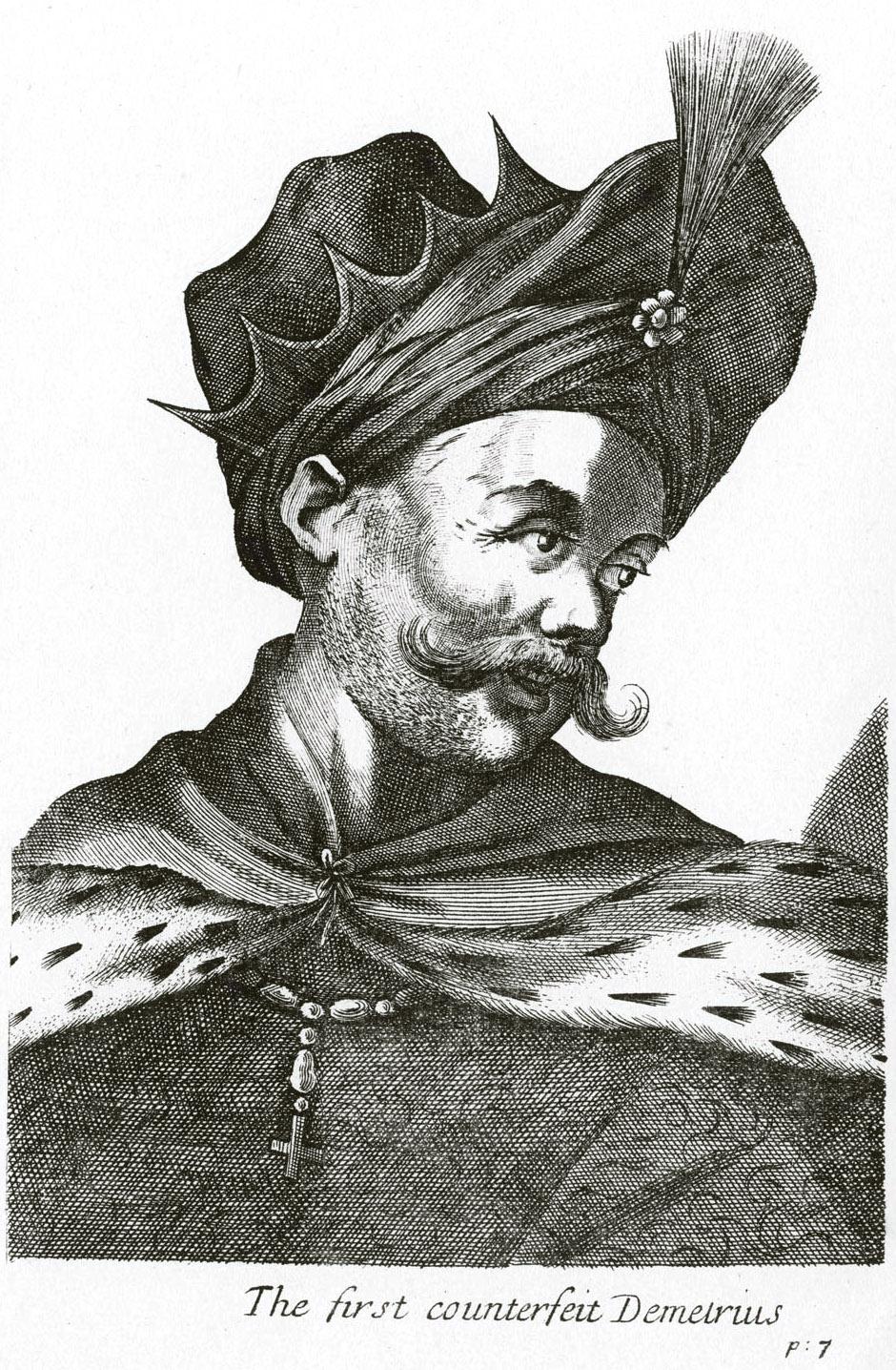 51. Фантастический портрет 1-го Самозванца. Из книги: «The Ancient and Present State of Moscovy. London. 1698».