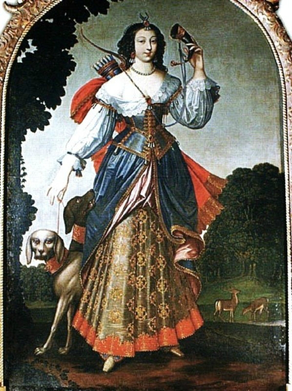 1590 Ambroise Dubois (Flemish-born French artist, 1542-43_1614-15) Gabrielle d'Estrees as Diana the Huntress (2).jpg
