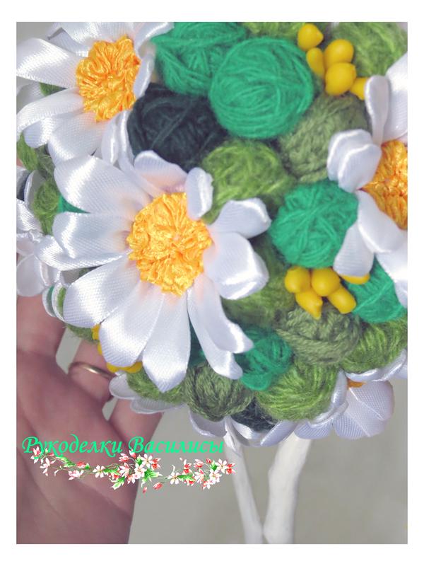 топиарий, дерево счастья, ручная работа, интерьерное дерево, цветы из атласных лент, ромашки ручной работы, подарки, рукоделки василисы