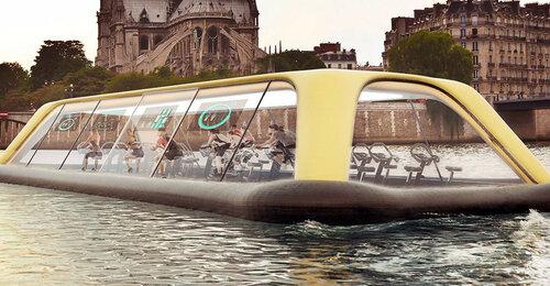 Плавучий тренажерный зал в Париже
