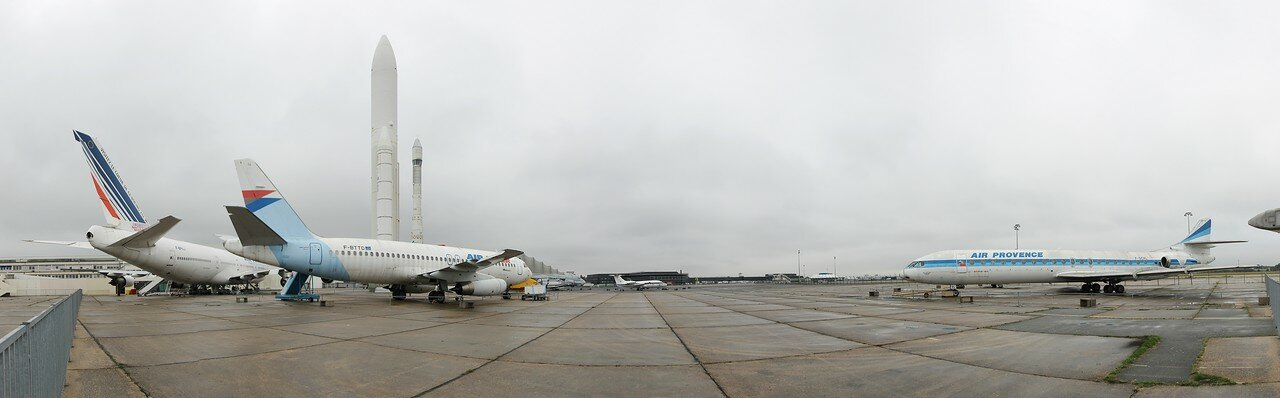 Museum of air and space in Le Bourget. Panoramic photo