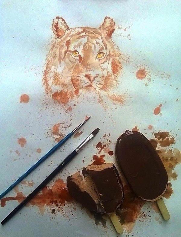 3. С помощью шоколада можно делать вот такие потрясающие рисунки.
