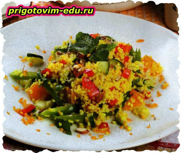 Салат с апельсином и пшеном