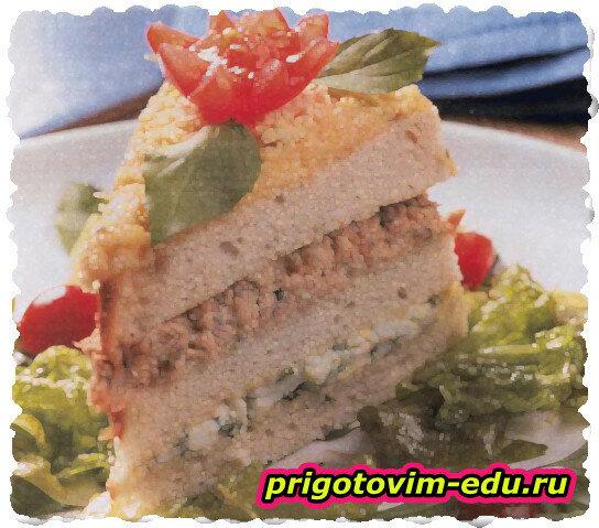 Рыбный торт с сыром