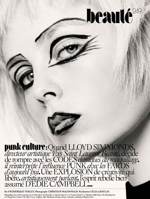 Supermodel Edie Campbell stars in Punk Culture beauty story captured for Vogue Paris September 2015