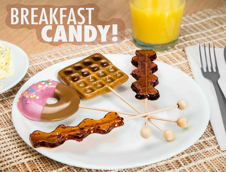Breakfast Lollipops - Awesome bacon, waffles, and donut flavored lollipops!