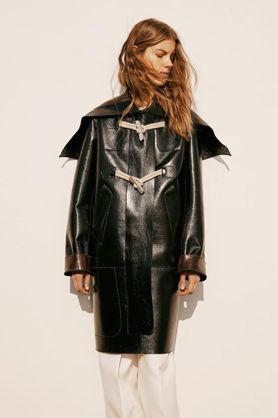 Calvin Klein Collection черный кожаный даффлкот плащ