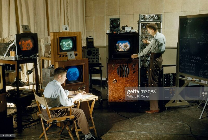 1954 Researchers test color balance on a new invention, a color television, Harrison, New Jersey.jpg