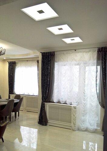 столовая в классическом стиле, экраны на радиаторах