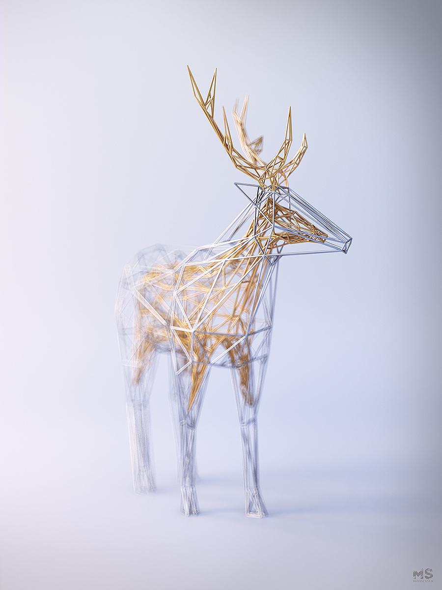 Цифровые скульптуры животных из «проволоки» (10 фото)
