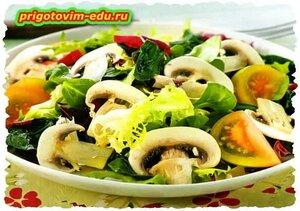 Салат из свежих грибов шампиньонов на новый год