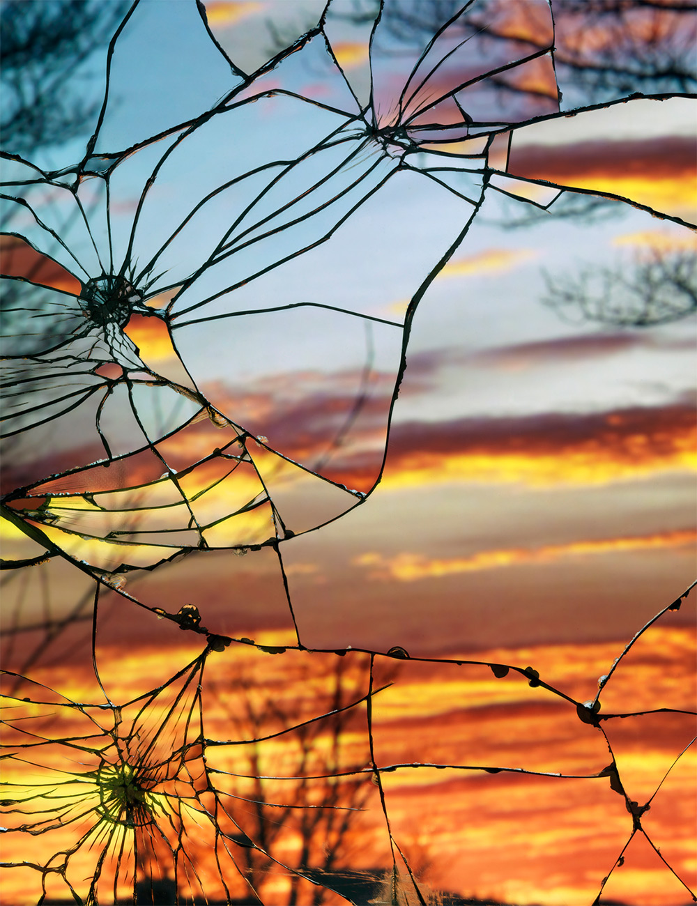 Photographs of Sunsets as Reflected through Shattered Mirrors by Bing Wright (8 pics)