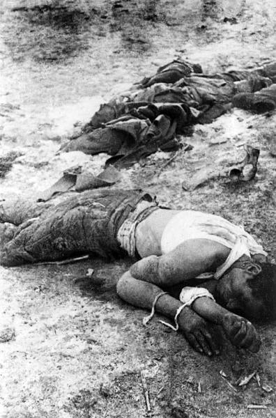 Замученные красноармейцы в лагере военнопленных. 1943 г.jpg