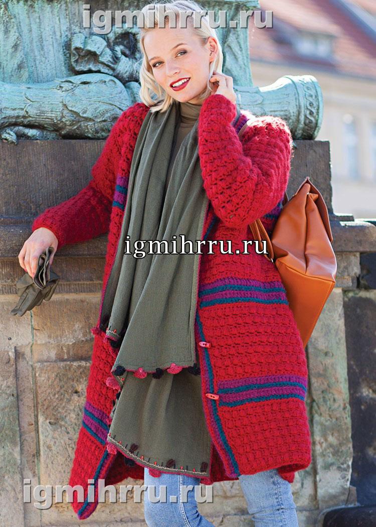 Теплое пальто с узором из пышных столбиков. Вязание крючком