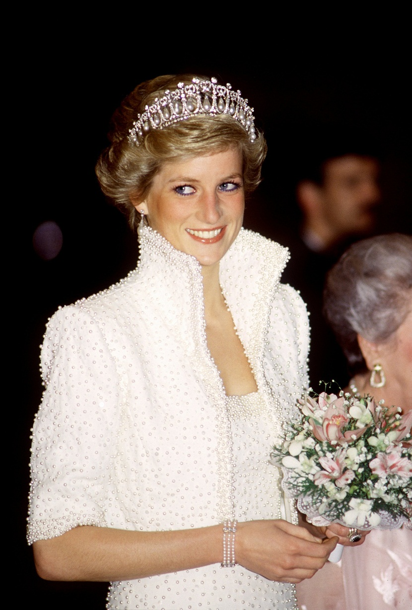 Diana, princess of Wales, wearing the Cambridge Lover's Knot tiara