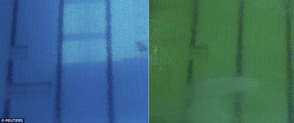 До и после: слева — вода в бассейне во вторник утром, справа — во вторник вечером.