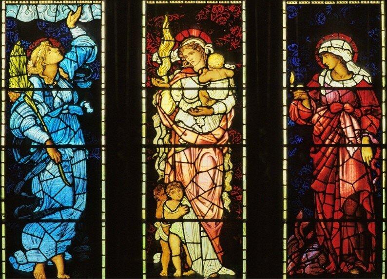 Вера, Любовь, Надежда. Витраж Эдварда Берн-Джонса в храме святого Мартина (Brampton, Великобритания)