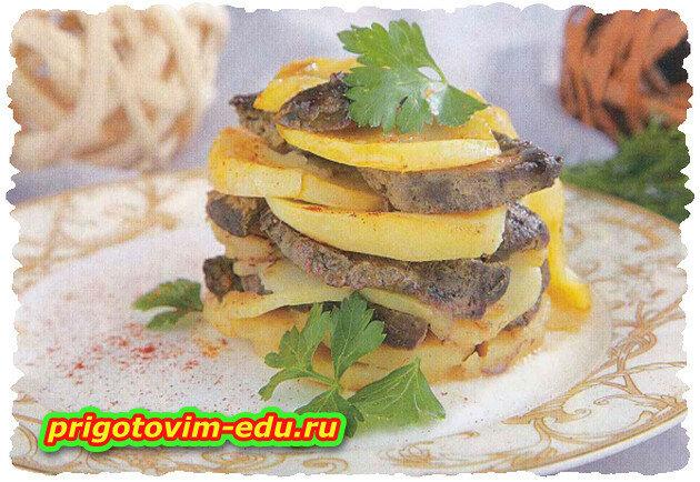 Картофельная слойка с печенью в горшочке