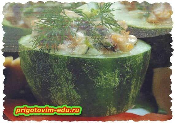 Огурцы фаршированные грибами с зеленью
