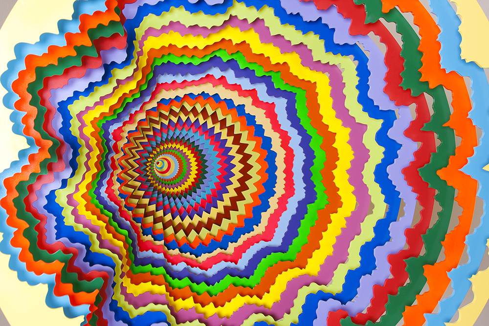 Spiraling Rainbow Vortexes Created From Layered Paper by Jen Stark (8 pics)