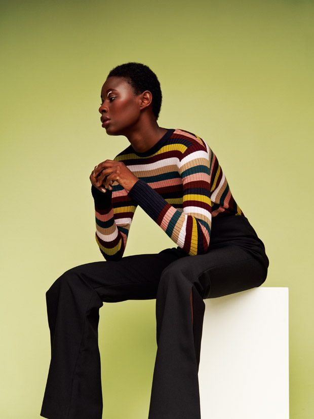 jumper in multi stripe Whistles side split trouser Solace London