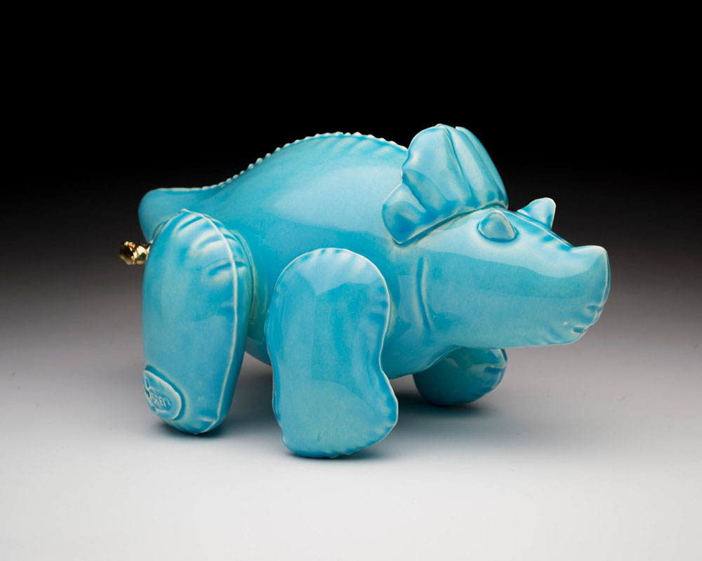 New Ceramic Dino Designs by Brett Kern Made to Look Like Inflatable Toys