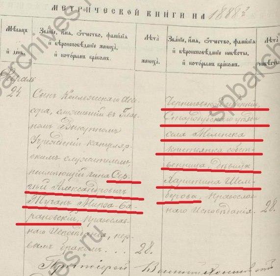 Харитина Шамбер из Меленска и Сергей Александрович Туган-Мирза-Барановский из Санкт-Петербурга.