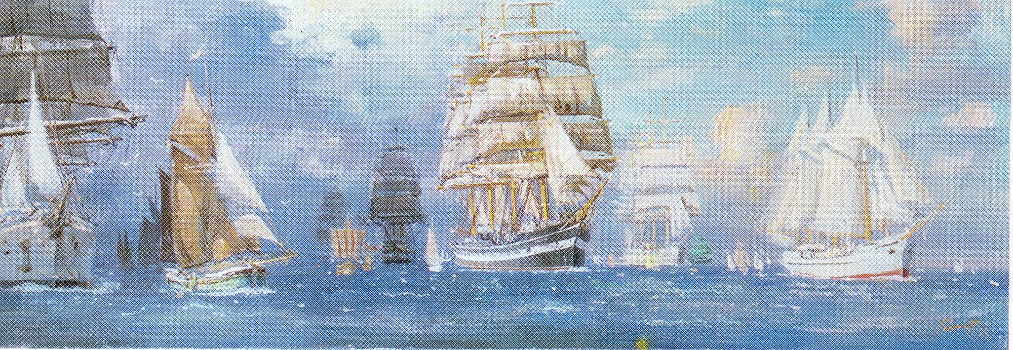 Парусные корабли в море. 1999.jpg
