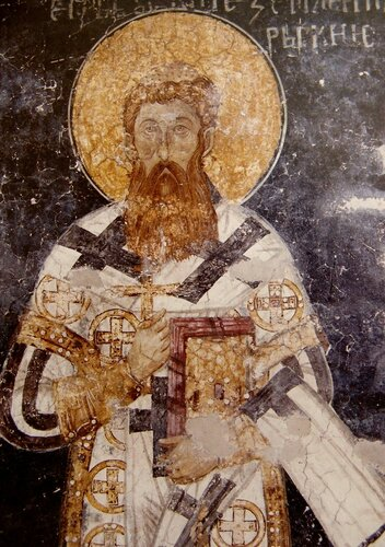 Святитель Савва, первый Архиепископ Сербский. Фрески монастыря Высокие Дечаны, Косово, Сербия. Около 1350 года.
