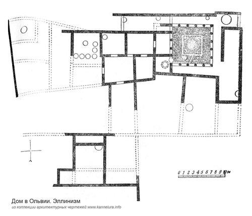Греческий город Ольвия, план дома, период эллинизма
