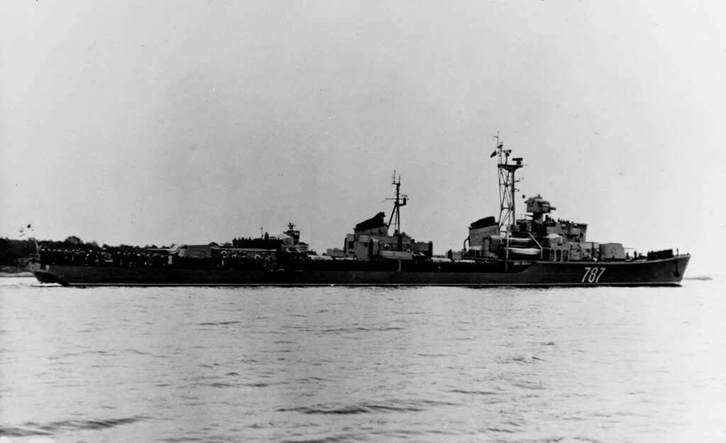 SVOBODNYI, Soviet Destroyer, photographed during 1960 in the Baltic.
