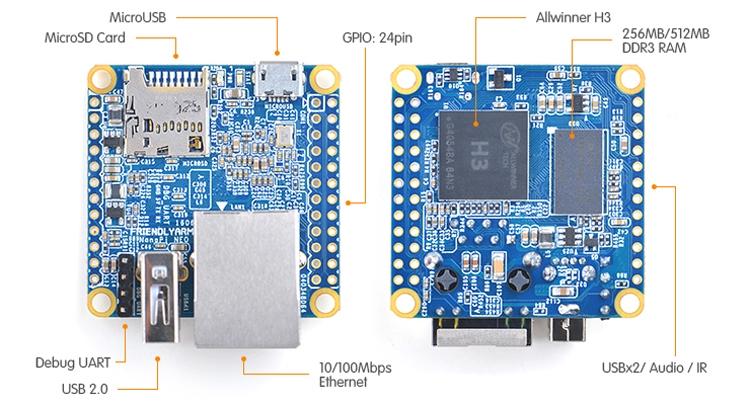 Размеры NanoPi NEO составляют всего 40?35,4 мм. Для сравнения: упомянутый одноплатный компьютер Ra