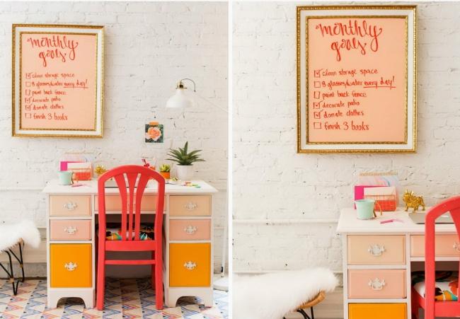 Можно перекрасить стол истул влюбимый цвет, сделать изстарой картины тайм-лист идобавить несколь