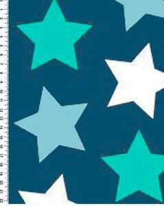 Футер 2х нитка петля, 95хб/5лайкра, Ментолово-синие звезды.кач. пенье 180см,240г/м, Цена 490 руб. .