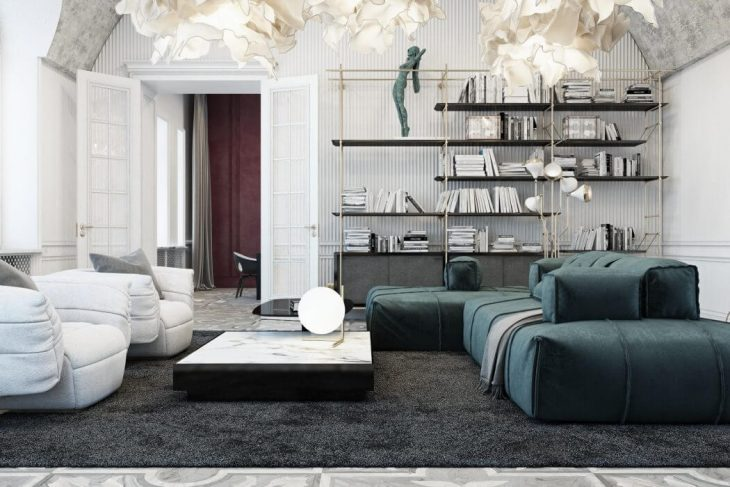 The interior is dominated by white color with bright accents creates a feeling of airiness and sense